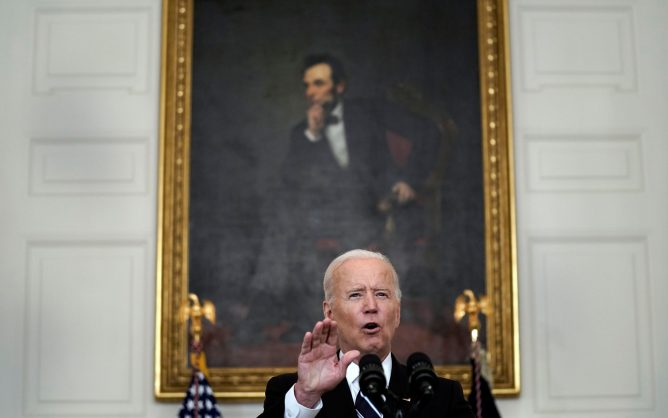 President Joe Biden at podium